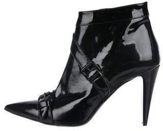 Just Cavalli Pointed-Toe Patent Leather Ankle Boots