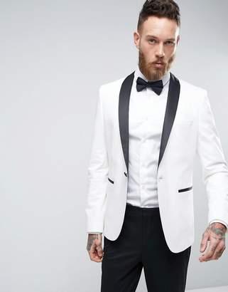 Asos Design Slim Tuxedo Suit Jacket In White With Contrast Lapel