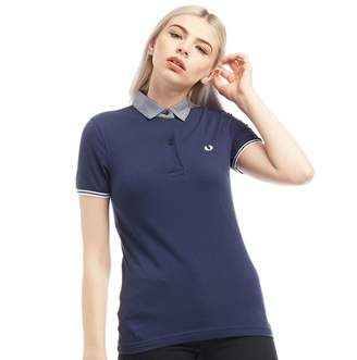 Fred Perry Womens Woven Collar Pique Polo Carbon Blue