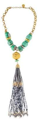 Devon Leigh Bead Tassel Pendant Necklace