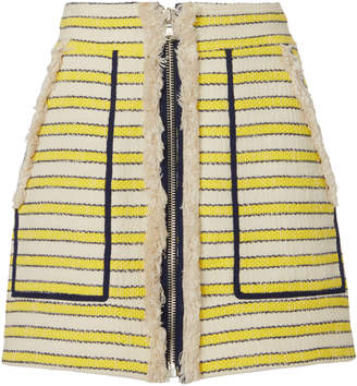 Veronica Beard Lynden Fringed Striped Mini Skirt