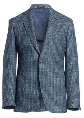Saks Fifth Avenue Men's COLLECTION Textured Wool, Silk& Linen Jacket - Blue - Size 38 (28) S