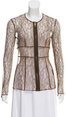 Burberry Zip-Up Lace Cardigan