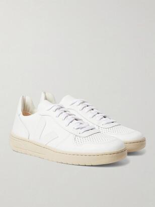 Veja V-10 Rubber-Trimmed Leather Sneakers - Men - White