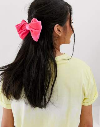 Asos Design DESIGN barrette hair clip in bow shape in pink velvet