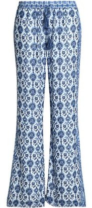 Joie Printed Silk-Crepe Wide-Leg Pants