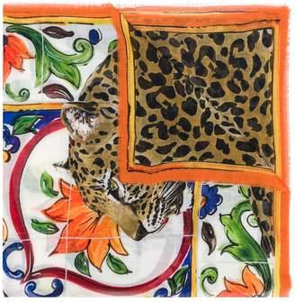 Dolce & Gabbana leopard print detail scarf