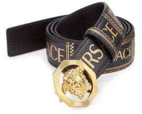 Versace Medusa Printed Leather Logo Belt
