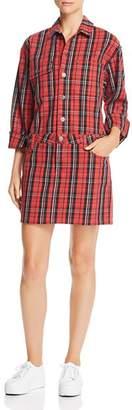 Current/Elliott Plaid Denim Shirt Dress