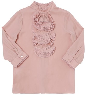 Gucci Ruffled Silk Blend Georgette Shirt