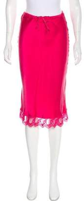Miguelina Crochet-Trimmed Silk Skirt