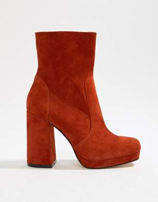 Office Aba red suede block heeled boot