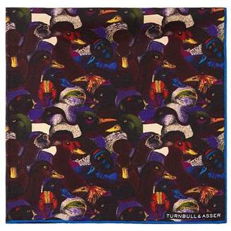 Turnbull & Asser Ducks Silk Pocket Square