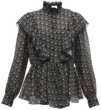 See by Chloe Floral Print Ruffled Crepe Blouse - Womens - Black Multi