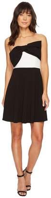 CeCe Strapless Color Blocked Scuba Dress w/ Bow Women's Dress