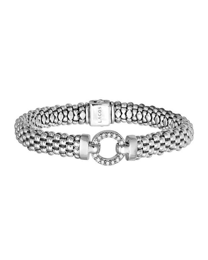 Lagos Enso Diamond Caviar Rope Bracelet, 9mm