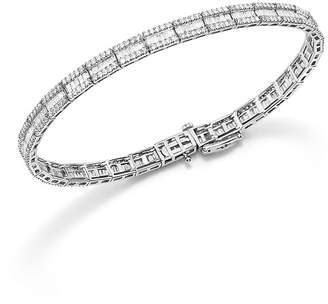 Bloomingdale's Baguette and Round Diamond Tennis Bracelet in 14K White Gold, 3.25 ct. t.w. - 100% Exclusive
