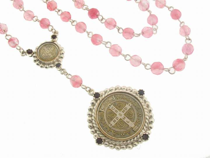 Virgins, Saints & Angels Rose Quartz San Benito Rosary