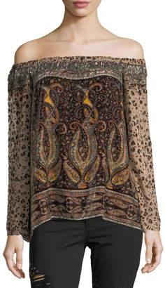 Haute Hippie Sahara Off-the-Shoulder Multi-Printed Beaded Top