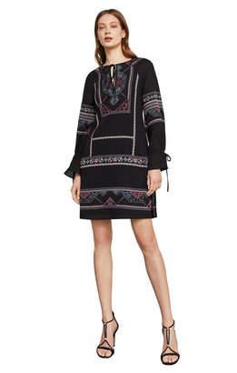 BCBGMAXAZRIA Aicha Embroidered Cotton Dress