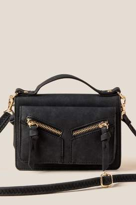 francesca's Viola Double Zip Crossbody Wallet - Black