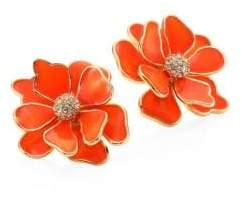 Kenneth Jay Lane Flower Crystal& Enamel Stud Earrings/Coral