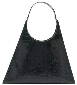 STAUD Large Rey Crocodile Effect Leather Bag - Womens - Dark Green