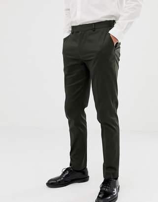Asos Design DESIGN skinny cotton sateen pant in dark green