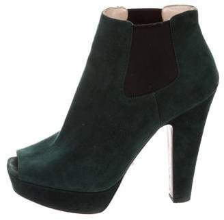Prada Suede Peep-Toe Ankle Boots