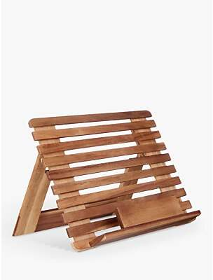 John Lewis & Partners Acacia Wood Slatted Cookbook Stand