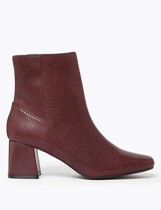 Marks and Spencer Leather Snakeskin Print Ankle Boots