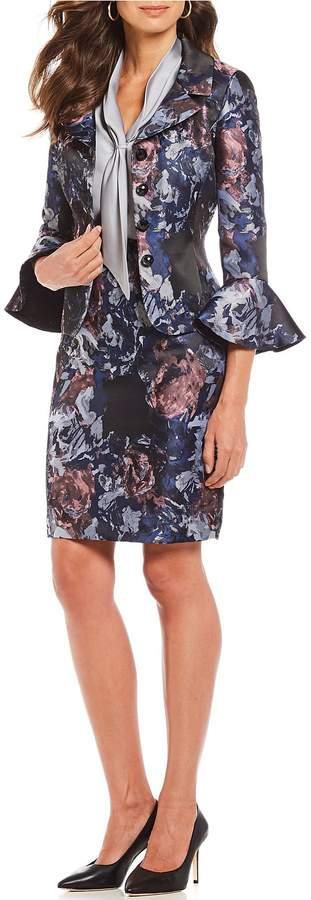 Tahari Asl Tahari ASL Petite Size Floral Print Jacquard Bell Sleeve Skirt Suit