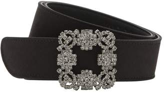 Manolo Blahnik 30mm Hangisi Swarovski Satin Belt