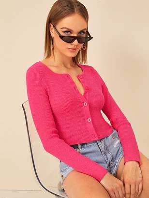 Shein Neon Pink Button Up Cardigan