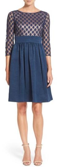 Eliza J Women's Dot Mesh Bodice Fit & Flare Dress