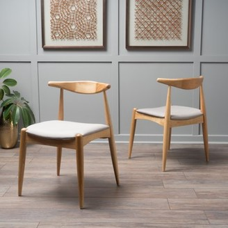 BEIGE Noble House Eliza Fabric with Oak Dining Chairs, Set of 2,