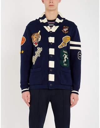 Polo Ralph Lauren Patchwork-appliqué contras-trim cotton cardigan