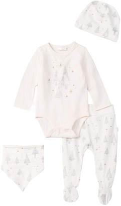 Petit Lem Holiday 4Pc Footed Pant Diapershirt