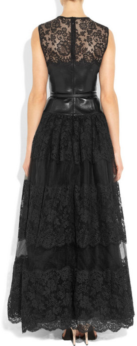 Valentino Leather, lace and tulle gown