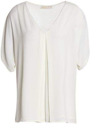 MICHAEL Michael Kors Cutout Pleated Crepe Blouse