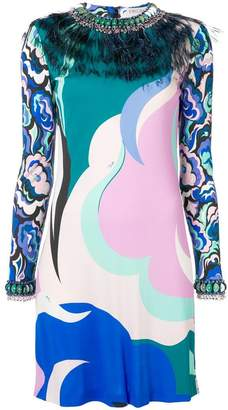 Emilio Pucci feather embellished mini dress