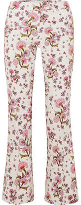 Giambattista Valli Floral-print Crepe Flared Pants - Ivory