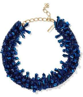Oscar de la Renta Gold-Tone Bead And Satin Necklace