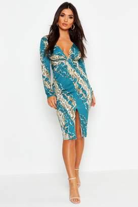 boohoo Chain Print Twist Front Midi Dress