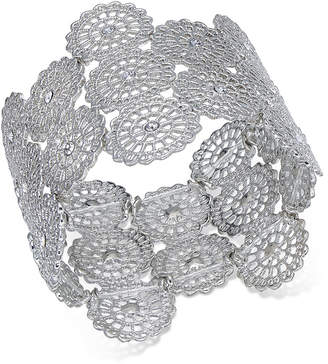 INC International Concepts I.N.C. Silver-Tone Crystal Filigree Disc Stretch Bracelet, Created for Macy's
