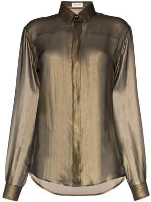 Saint Laurent diaphanous long-sleeved silk shirt