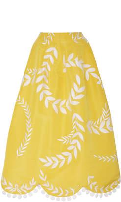 Oscar de la Renta Scalloped Silk Midi Skirt