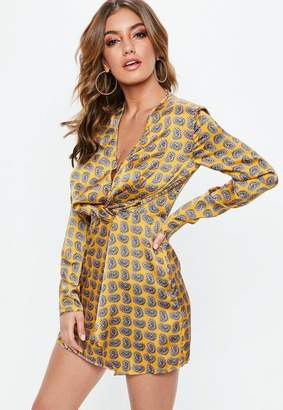 Missguided Yellow Paisley Print Shift Dress