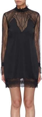 Jonathan Simkhai Lace panel ruffle high neck open back sateen dress