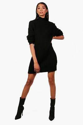 boohoo NEW Womens Roll Neck Soft Knit Jumper Dress in Acrylic 24% Nylon